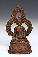 AN HIMALAYAN BRONZE BUDDHA on an oval base with lotus decoration, 18th Century, 16cm high