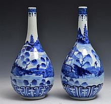 A PAIR OF CHINESE BLUE AND WHITE PORCELAIN BOTTLE VASES, late landscape with pavilions, Kangxi mark
