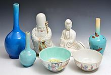 A CHINESE PORCELAIN MODEL OF HOTEI, a blanc de chine model of a kneeling Guanyin, two Chinese bowls
