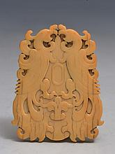 A CHINESE CARVED IVORY PENDANT, each side decorated with a double phoenix, 19th Century, 6.75cm high