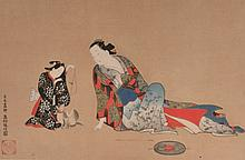 AFTER MASANOBU  Mother and child playing with a cat, signed, woodblock, 22cm x 34cm