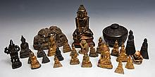 A GROUP OF MINIATURE CHINESE AND OTHER GILT METAL BUDDHAS, a miniature Indian bronze Shiva, a Chines