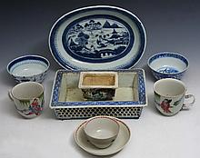 TWO CHINESE WHITE GROUND CUPS with scholars, a Japanese blue and white porcelain rectangular jardini