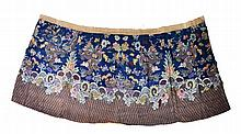 A CHINESE LATE 19TH CENTURY BLUE GROUND SKIRT