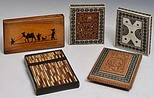 THREE INDIAN SANDALWOOD AND INLAID CARD CASES , an olive wood card case inscribed Jerusalem and a po