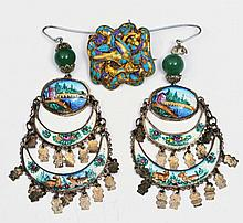 A PAIR OF TURKISH SILVER EARRINGS with painted enamel decoration of a river scene, flowers and anima