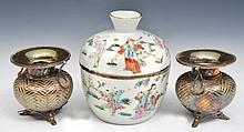 A CHINESE PORCELAIN BOWL and cover, figures in a garden, late 19th Century, 14cm and a pair of Chine