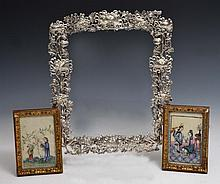 A CHINESE SILVER MIRROR with chrysanthemum decoration and two Chinese pith framed pictures (3)