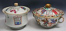TWO CHINESE POTS and covers decorated with scenes of Immortals and calligraphy poems, one with loop
