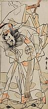 SHUNSHO (Japanese, 1796-1792)  Study of an actor dressed as a samurai, signed, woodblock, 28.5cm