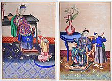 TWO CHINESE PITH STUDIES, each with seated figures and attendant figures, 19th Century, largest 28cm