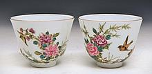 A PAIR OF CHINESE WHITE GROUND PORCELAIN WINE CUPS painted with chrysanthemums, birds and a poem, ma