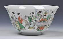 A CHINESE PORCELAIN BOWL, figures at a painting table, Kangxi mark but Guangxu, 18cm