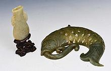 A CHINESE SPINACH JADE CARVED AND PIERCED MODEL FISH, 19th Century, 19.5cm and a small jade carved t
