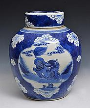 A CHINESE BLUE AND WHITE PORCELAIN OVOID GINGER JAR and cover with panels of temple dogs within a pr