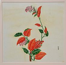 19TH CENTURY CHINESE SCHOOL  A set of eight paintings of fruits and flowers, each signed, gouach