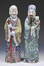 A PAIR OF CHINESE POLYCHROME MODELS OF IMMORTALS, early 20th Century, 47cm high