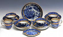 A CHINESE EXPORT BLUE AND WHITE PORCELAIN PART SET to include four tea bowls and saucers, two coffee