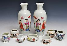 A COLLECTION OF SEVEN CHINESE PORCELAIN BIRD FEEDERS and a pair of Chinese slender small tapering va