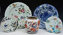 A CHINESE IMARI PATTERN OVOID JAR, a Chinese blue and white porcelain Kraak dish 37cm, a Chinese fam