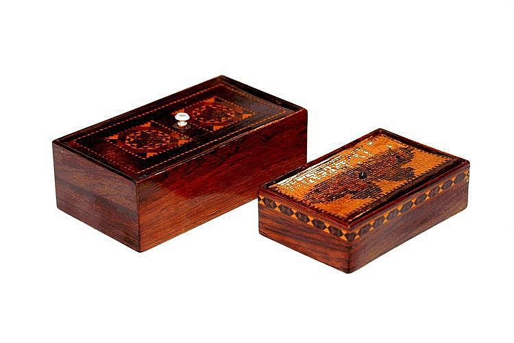 A TUNBRIDGEWARE RECTANGULAR BOX with detachable