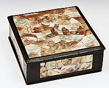 A CHINESE MOTHER OF PEARL SQUARE BOX with engraved