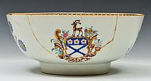 A CHINESE EXPORT ARMORIAL BOWL decorated in