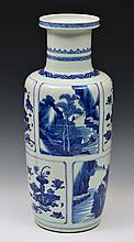 A CHINESE EXPORT BLUE AND WHITE PORCELAIN ROULEAU