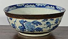 A CHINESE LARGE CRACKLE GLAZE BLUE AND WHITE PUNCH