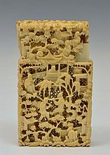 A CHINESE CANTON CARVED IVORY VISITING CARD CASE,