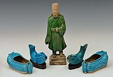 A PAIR OF TURQUOISE GLAZE JOSS STICK HOLDERS in