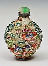 A CHINESE PORCELAIN SNUFF BOTTLE decorated in