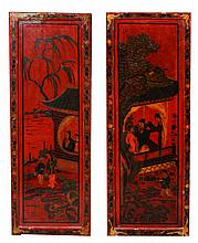 A PAIR OF CHINESE RED LACQUER PANELS with figures