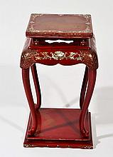 A CHINESE RED LACQUER AND MOTHER OF PEARL URN