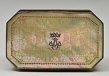A CHINESE SILVER AND MOTHER OF PEARL SNUFF BOX of