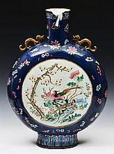 A CHINESE CANTON PORCELAIN TWO HANDLED PILGRIM