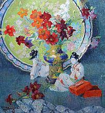 J * BOLEGARD Still life - two Japanese figures, a