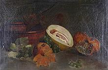G * WATT Still life - Fruit with copper pan, sign