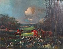 FOLLOWER OF GEORGE WRIGHT A countryside hunt, oil