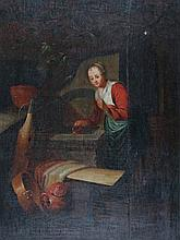 17TH CENTURY DUTCH SCHOOL A young girl with jug c