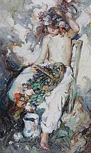 JOSÉ ROYO (b. 1945) A seated child with basket of