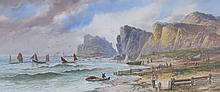 L * LEWIS Figures with sailing vessels off a rock