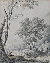18TH CENTURY FRENCH SCHOOL Figures in a landscape