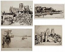 Four 19th/20th Century etchings  by Reginald Green, Charles Adams