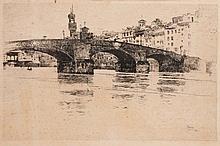 Joseph Pennell (American, 1860-1926)  A continental bridge over a
