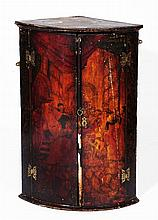 A George III painted bow front corner cupboard  93cm high