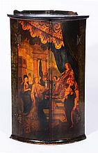 A Georgian painted corner cupboard  showing a royal court scene, t