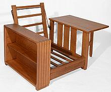 A Heals oak bookcase chair  circa 1930, with drop flap table to on