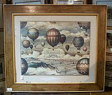 A David Joel frame  with inset later ballooning print, with label,