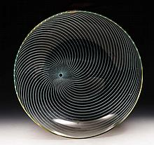 A glass large fruit bowl  circa 1950 with spiral design, 30.5cm